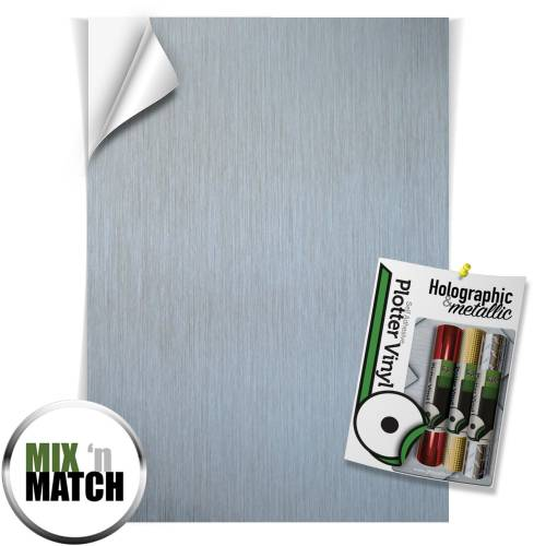 Silver Brushed Holographic And Metallic Effect Self Adhesive Vinyl Sheets From GM Crafts