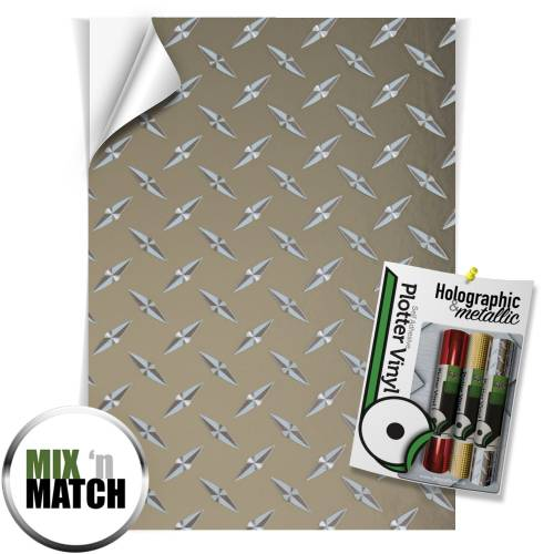 Mirror Silver Chequer Plate Holographic And Metallic Effect Self Adhesive Vinyl Sheets From GM Crafts