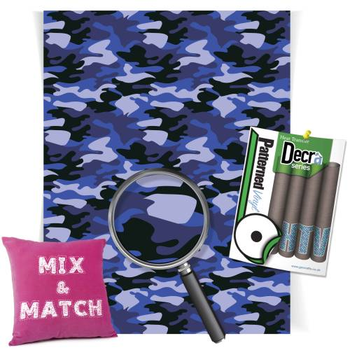 Camouflage Blue Patterned HTV Vinyl Sheets From GM Crafts