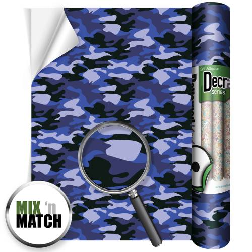 Camouflage Blue Patterned Self Adhesive Vinyl Rolls From GM Crafts