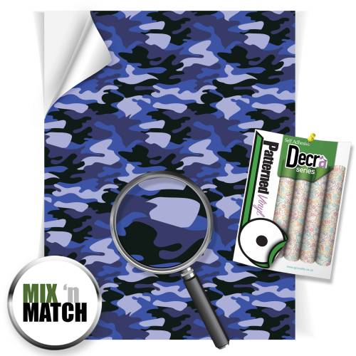 Camouflage Blue Patterned Self Adhesive Vinyl Sheets From GM Crafts