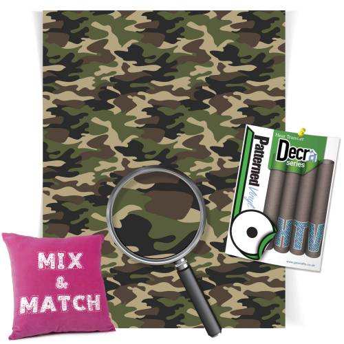 Camouflage Green Patterned HTV Vinyl Sheets From GM Crafts