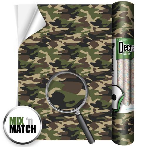 Camouflage Green Patterned Self Adhesive Vinyl Rolls From GM Crafts