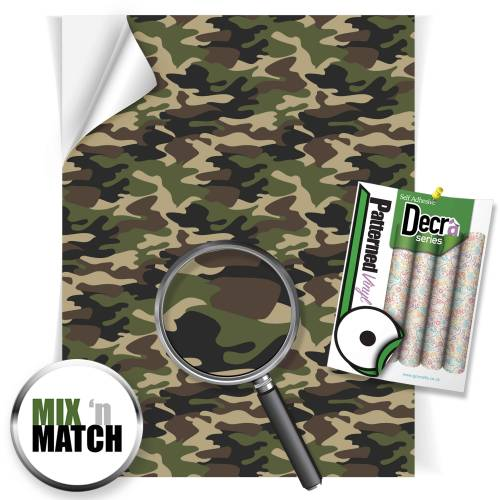 Camouflage Green Patterned Self Adhesive Vinyl Sheets From GM Crafts