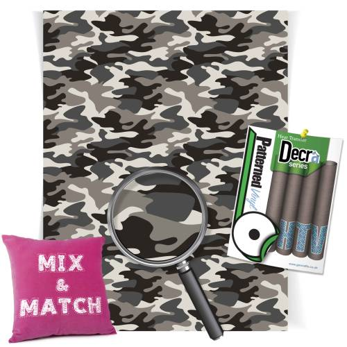 Camouflage Grey Patterned HTV Vinyl Sheets From GM Crafts