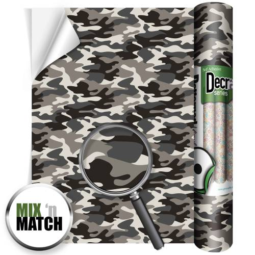 Camouflage Grey Patterned Self Adhesive Vinyl Rolls From GM Crafts