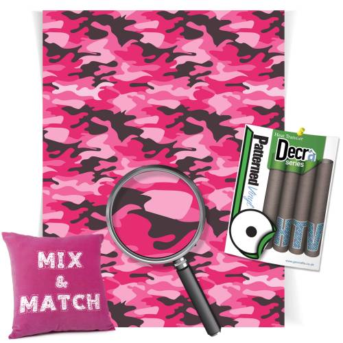 Camouflage Pink Patterned HTV Vinyl Sheets From GM Crafts