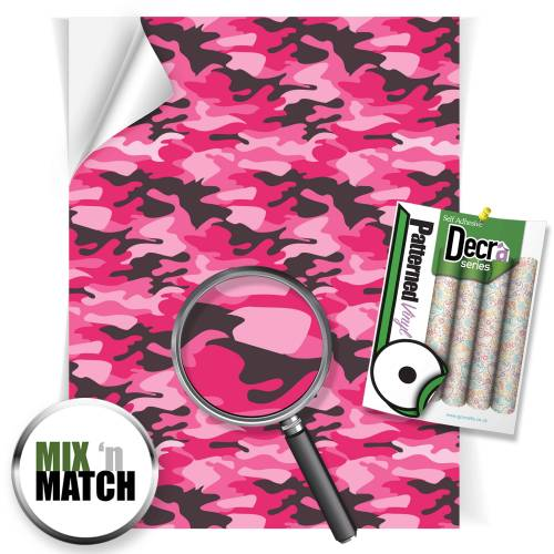 Camouflage Pink Patterned Self Adhesive Vinyl Sheets From GM Crafts