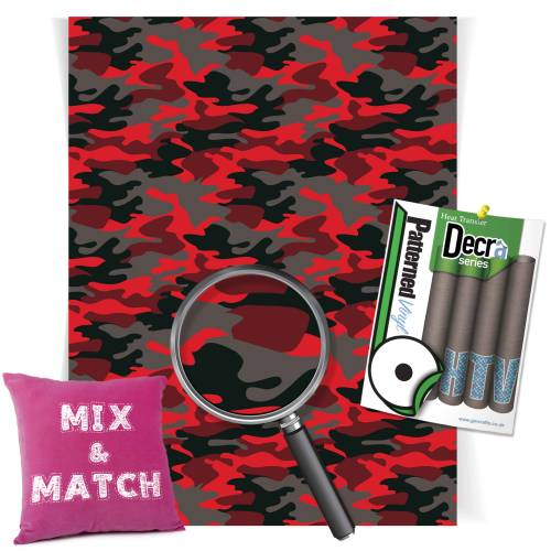 Camouflage Red Patterned HTV Vinyl Sheets From GM Crafts