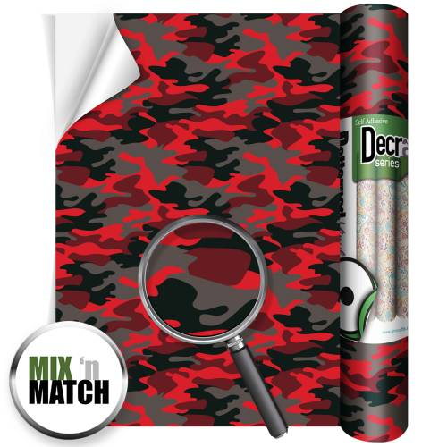 Camouflage Red Patterned Self Adhesive Vinyl Rolls From GM Crafts
