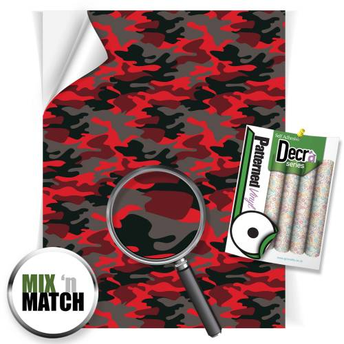 Camouflage Red Patterned Self Adhesive Vinyl Sheets From GM Crafts