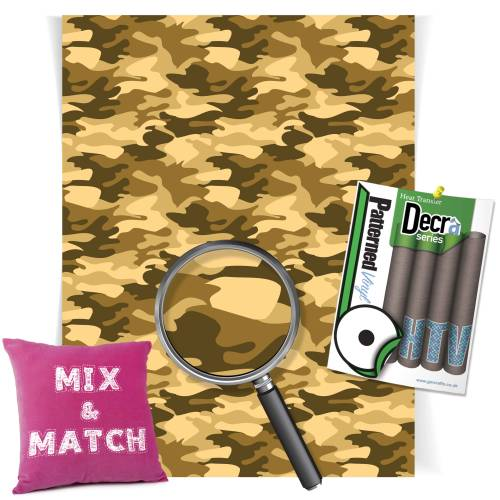 Camouflage Sand Patterned HTV Vinyl Sheets From GM Crafts