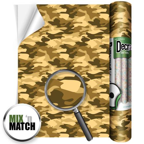 Camouflage Sand Patterned Self Adhesive Vinyl Rolls From GM Crafts