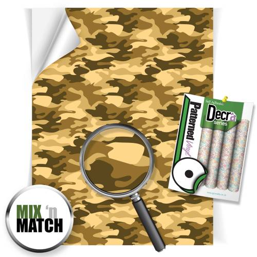 Camouflage Sand Patterned Self Adhesive Vinyl Sheets From GM Crafts