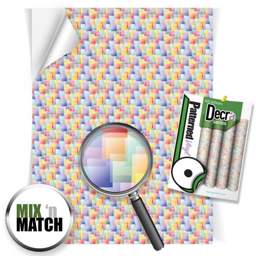 Coloured Squares Patterned Self Adhesive Vinyl Sheets From GM Crafts