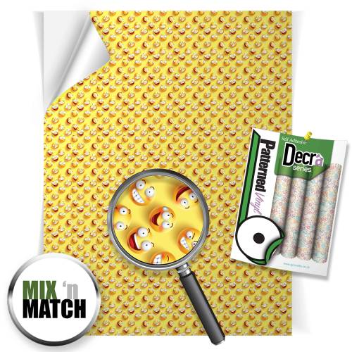 Emoji Yellow Patterned Self Adhesive Vinyl Sheets From GM Crafts