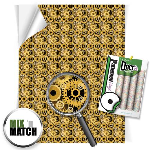 Golden Gears Patterned Self Adhesive Vinyl Sheets From GM Crafts