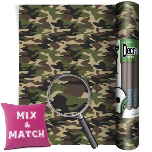 Camouflage Green Patterned HTV Vinyl Rolls From GM Crafts