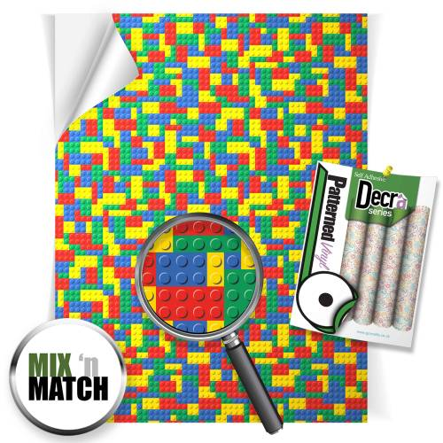 Multi Colour Toy Bricks Patterned Self Adhesive Vinyl Sheets From GM Crafts