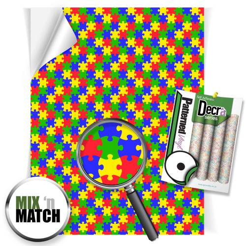 Multi Coloured Jigsaw Patterned Self Adhesive Vinyl Sheets From GM Crafts