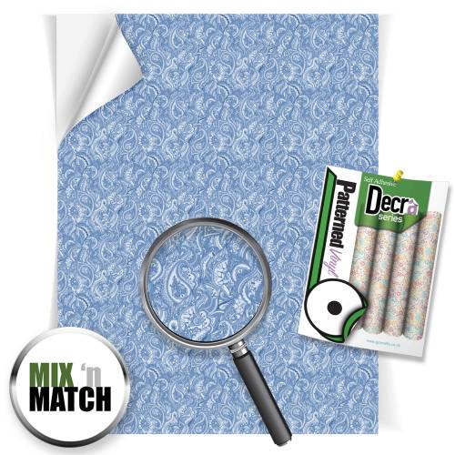Blue Paisley Patterned Self Adhesive Vinyl Sheets From GM Crafts