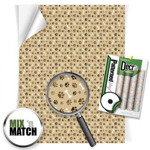 Paw Prints Brown Patterned Self Adhesive Vinyl Sheets From GM Crafts