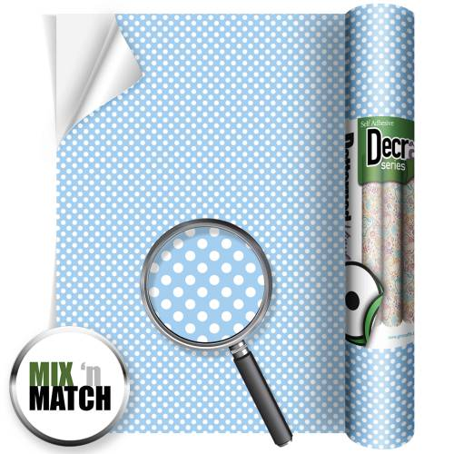 Polka Dots Blue Patterned Self Adhesive Vinyl Rolls From GM Crafts