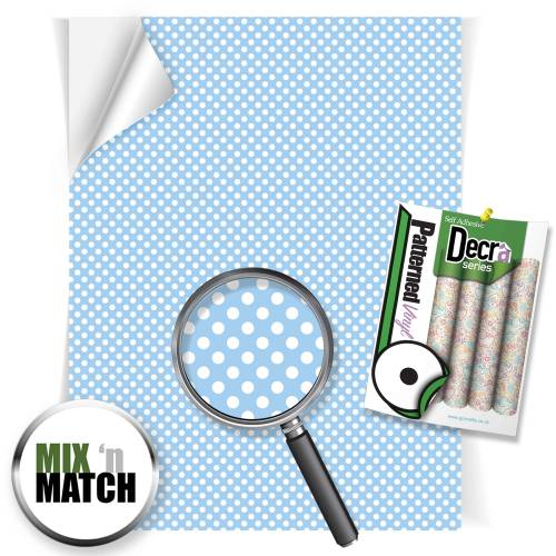 Polka Dots Blue Patterned Self Adhesive Vinyl Sheets From GM Crafts