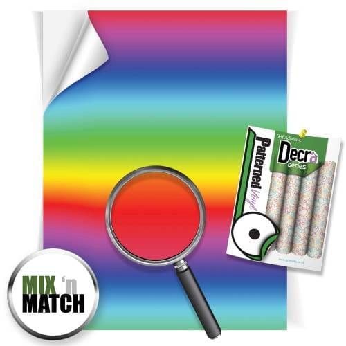 Rainbow Stripes Patterned Self Adhesive Vinyl Sheets From GM Crafts