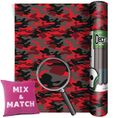 Camouflage Red Patterned HTV Vinyl Rolls From GM Crafts