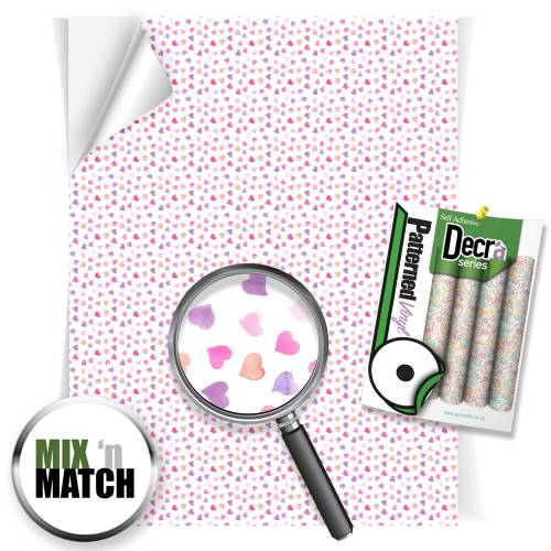 Watercolour Hearts Patterned Self Adhesive Vinyl Sheets From GM Crafts