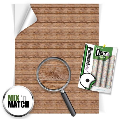 Wood Planks Brown Patterned Self Adhesive Vinyl Sheets From GM Crafts