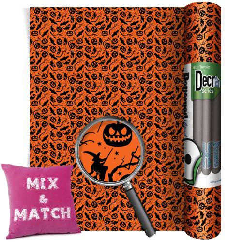 Bats And Pumpkin Patterned HTV Vinyl Rolls From GM Crafts