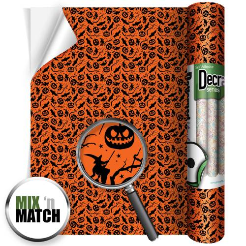 Bats And Pumpkin Patterned Self Adhesive Vinyl Rolls From GM Crafts