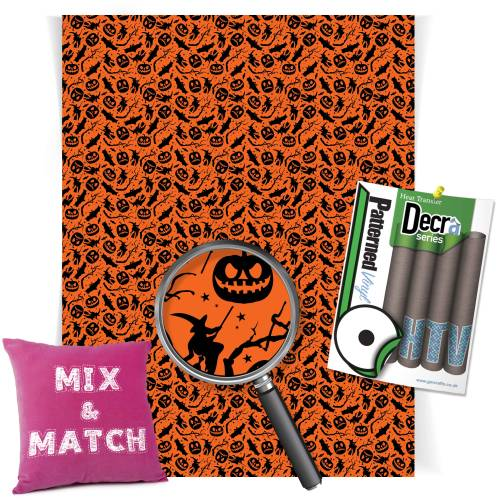 Bats And Pumpkin Patterned HTV Vinyl From GM Crafts