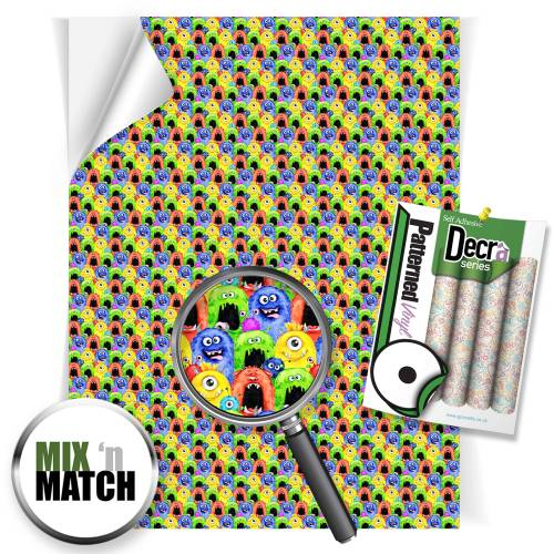 Monsters Patterned Self Adhesive Vinyl Sheets From GM Crafts