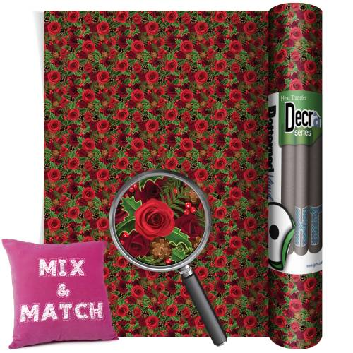 Christmas Roses Patterned HTV Vinyl Rolls From GM Crafts