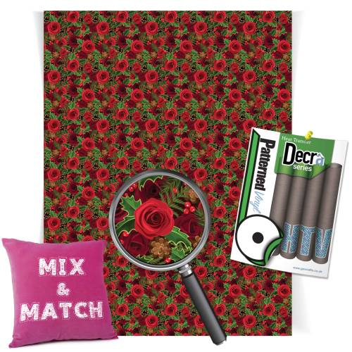 Christmas Roses Patterned HTV Vinyl From GM Crafts