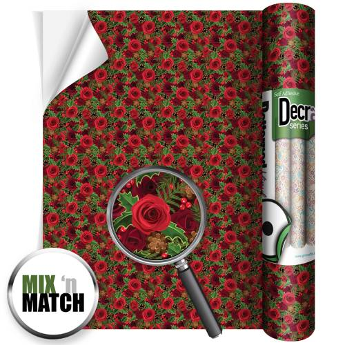 Christmas Roses Patterned Self Adhesive Vinyl Rolls From GM Crafts