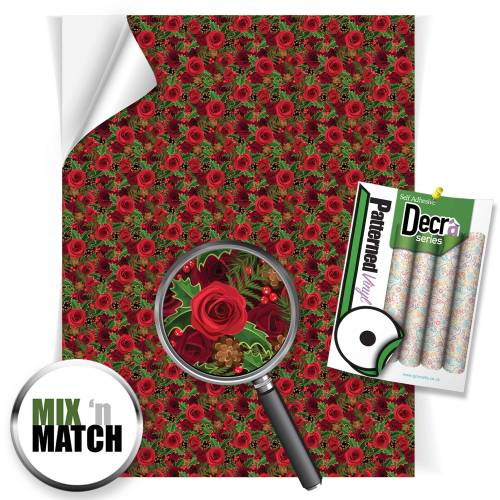 Christmas Roses Patterned Self Adhesive Vinyl Sheets From GM Crafts