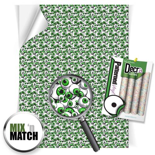 Green Eyeballs Patterned Self Adhesive Vinyl Sheets From GM Crafts