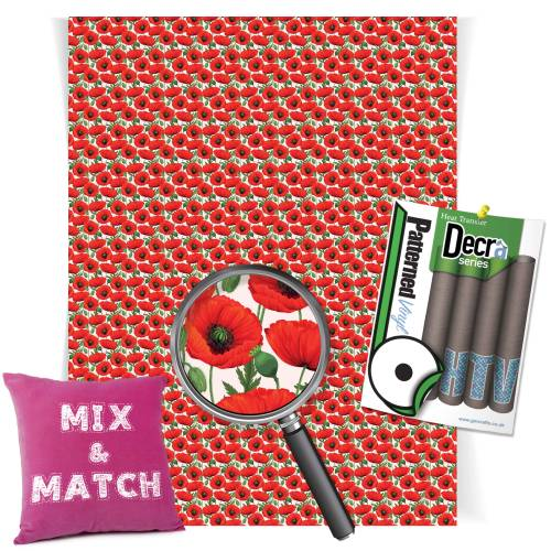 Poppy Patterned HTV Vinyl Sheets From Gm Crafts