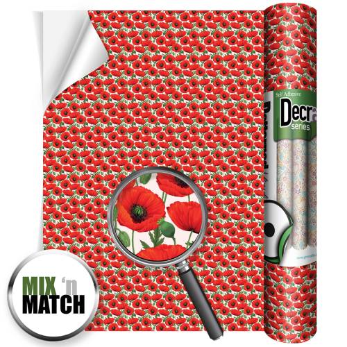 Poppy Patterned Self Adhesive Vinyl Rolls From Gm Crafts