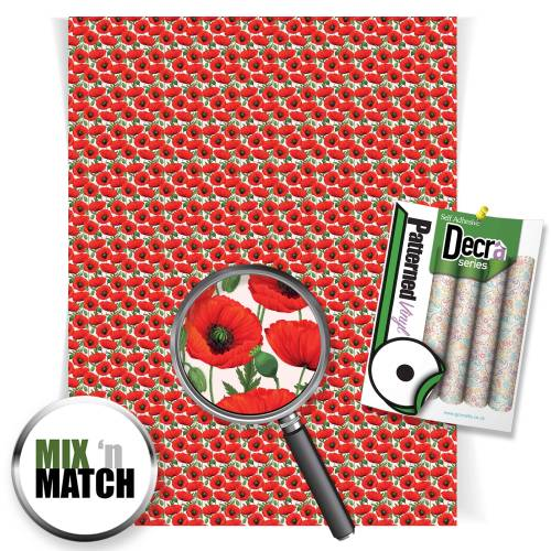 Poppy Patterned Self Adhesive Vinyl Sheets From Gm Crafts
