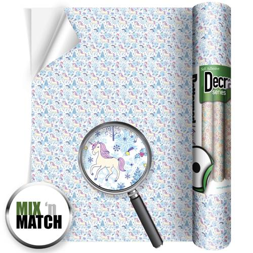 Winter Wonderland With Unicorns Patterned Self Adhesive Vinyl Rolls From GM Crafts
