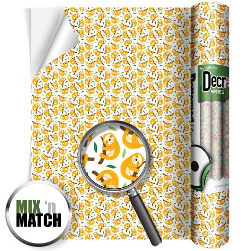 Baby Sloth Pattern Self Adhesive Vinyl Rolls From GM Crafts