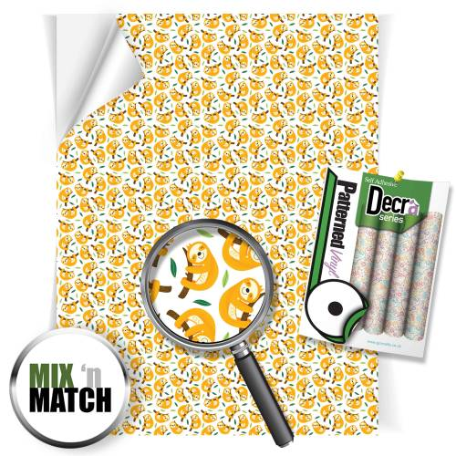 Baby Sloth Pattern Self Adhesive Vinyl Sheets From GM Crafts