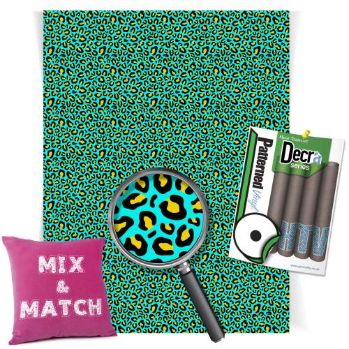 Leopard Aqua And Yellow Pattern Heat Transfer HTV Vinyl Sheets From GM Crafts
