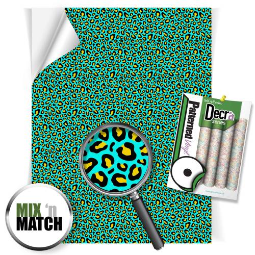 Leopard Aqua And Yellow Pattern Self Adhesive Vinyl Sheets From GM Crafts
