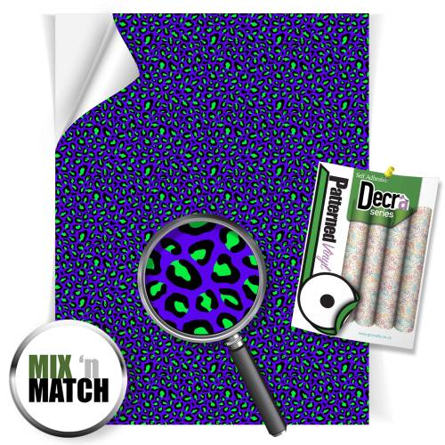 Leopard Blue And Green Pattern Self Adhesive Vinyl Sheets From GM Crafts